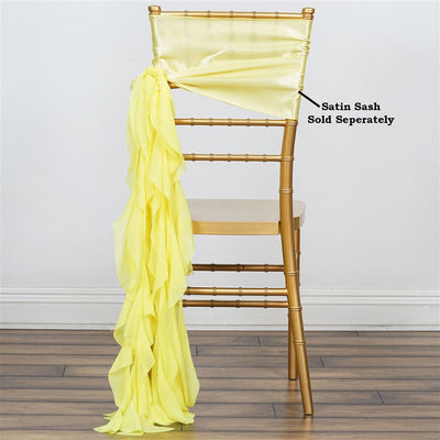 Chiffon Yellow Curly Willow Chair Sashes