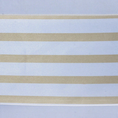 5pc x Lovable Satin Stripes Chair Sash - White / Champagne