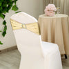 5 pack Metallic Champagne Spandex Chair Sashes With Attached Round Diamond Buckles