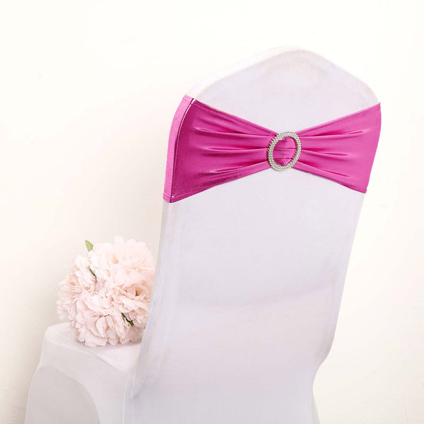 5 pack Metallic Fushia Spandex Chair Sashes With Attached Round Diamond Buckles