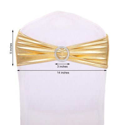 5 pack Metallic Gold Spandex Chair Sashes With Attached Round Diamond Buckles