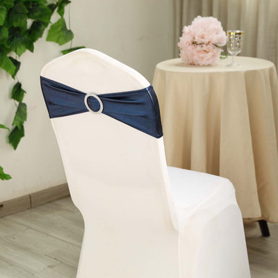 5 pack Metallic Navy Blue Spandex Chair Sashes With Attached Round Diamond Buckles