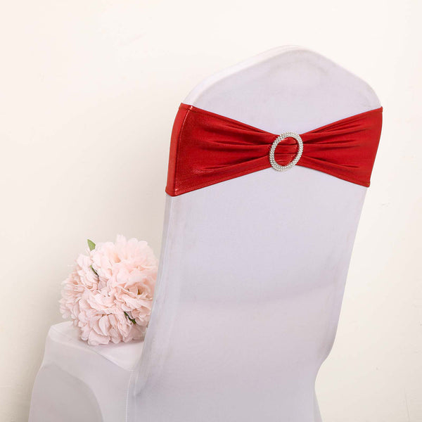 5 pack Metallic Red Spandex Chair Sashes With Attached Round Diamond Buckles