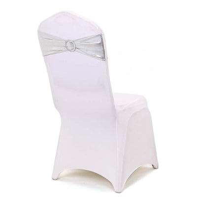 5 pack Metallic Silver Spandex Chair Sashes With Attached Round Diamond Buckles