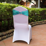 5 pack Metallic Teal Spandex Chair Sashes With Attached Round Diamond Buckles