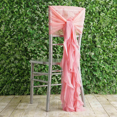 1 Set Rose Quartz Chiffon Hoods With Curly Willow Chiffon Chair Sashes