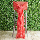 1 Set Coral Chiffon Hoods With Curly Willow Chiffon Chair Sashes