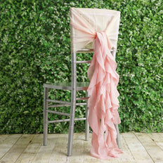 1 Set Blush | Rose Gold Chiffon Hoods With Curly Willow Chiffon Chair Sashes