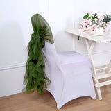 1 Set Olive Green Chiffon Hoods With Curly Willow Chiffon Chair Sashes
