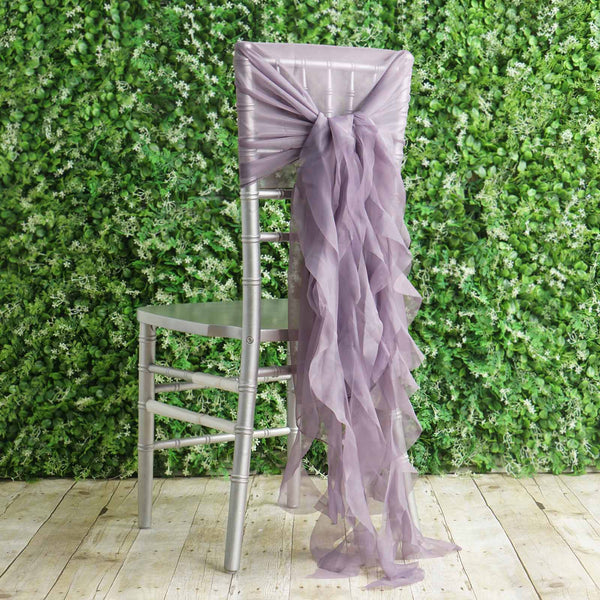 1 Set Violet Amethyst Chiffon Hoods With Curly Willow Chiffon Chair Sashes