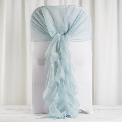1 Set Ice Blue Chiffon Hoods With Curly Willow Chiffon Chair Sashes