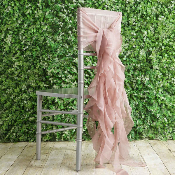 1 Set Dusty Rose Chiffon Hoods With Curly Willow Chiffon Chair Sashes