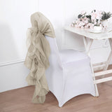 1 Set Beige Chiffon Hoods With Ruffles Willow Chiffon Chair Sashes