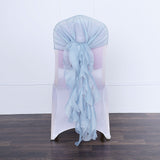 1 Set Dusty Blue Chiffon Hoods With Ruffles Willow Chiffon Chair Sashes