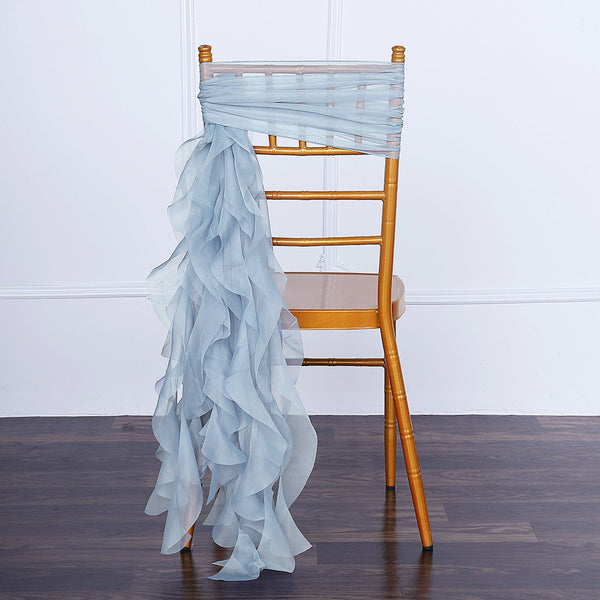 1 Set Dusty Blue Chiffon Hoods With Curly Willow Chiffon Chair Sashes
