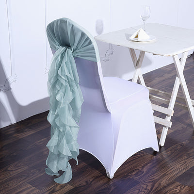 1 Set Dusty Sage Chiffon Hoods With Ruffles Willow Chiffon Chair Sashes