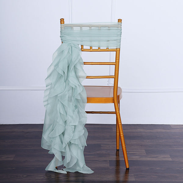1 Set Dusty Sage Chiffon Hoods With Curly Willow Chiffon Chair Sashes