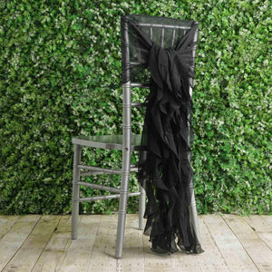 1 Set Black Chiffon Hoods With Curly Willow Chiffon Chair Sashes