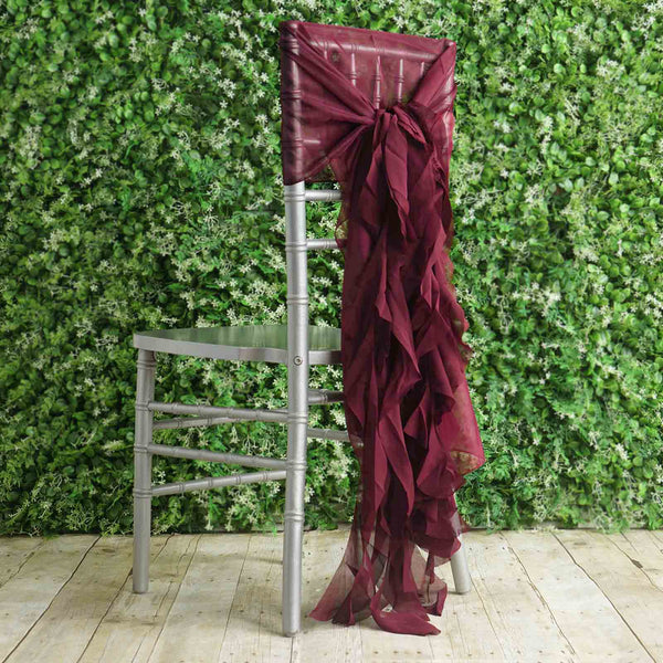 1 Set Burgundy Chiffon Hoods With Curly Willow Chiffon Chair Sashes