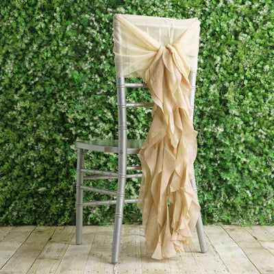 1 Set Champagne Chiffon Hoods With Curly Willow Chiffon Chair Sashes