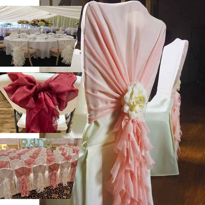 1 Set Rose Quartz Chiffon Hoods With Curly Willow Chiffon Chair Sashes - Clearance SALE