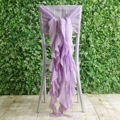 1 Set Lavender Chiffon Hoods With Curly Willow Chiffon Chair Sashes