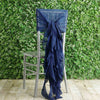 1 Set Navy Blue Chiffon Hoods With Curly Willow Chiffon Chair Sashes