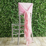 1 Set Pink Chiffon Hoods With Curly Willow Chiffon Chair Sashes