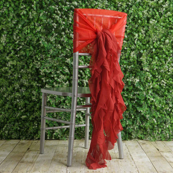 1 Set Red Chiffon Hoods With Curly Willow Chiffon Chair Sashes