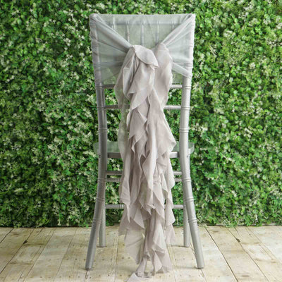 1 Set Silver Premium Designer Curly Willow Chiffon Chair Sashes