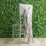 1 Set Silver Chiffon Hoods With Curly Willow Chiffon Chair Sashes