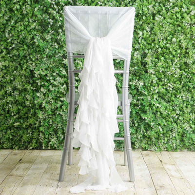 1 Set White Chiffon Hoods With Curly Willow Chiffon Chair Sashes