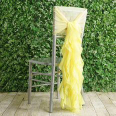 1 Set Yellow Chiffon Hoods With Curly Willow Chiffon Chair Sashes