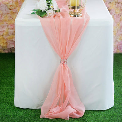 6 FT | Rose Quartz Premium Chiffon Table Runner