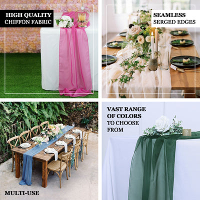 6FT | Silver Premium Chiffon Table Runner
