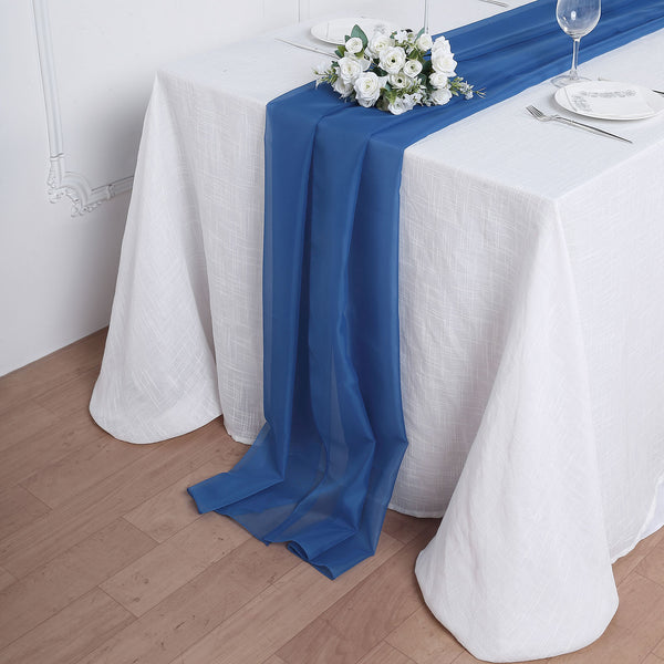 6FT | Royal Blue Premium Chiffon Table Runner