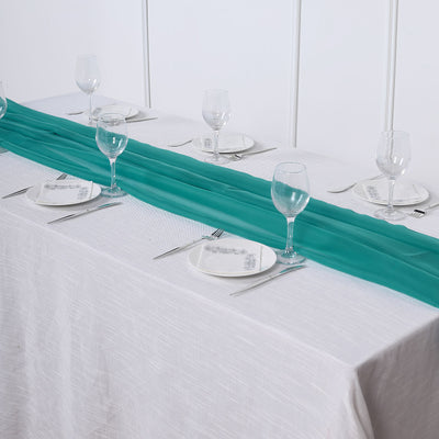 6 FT | Turquoise Premium Chiffon Table Runner