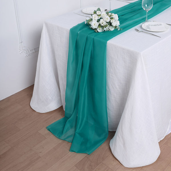 6FT | Turquoise Premium Chiffon Table Runner