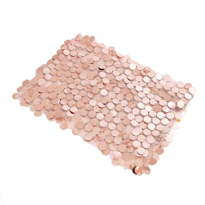 5 pack | Big Payette Sequin Round Chair Sashes | Blush / Rose Gold