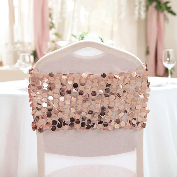 5 Pack | Big Payette Sequin Round Chair Sashes - Blush | Rose Gold