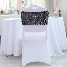 5 pack | Black | Big Payette Sequin Round Chair Sashes