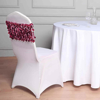 5 Pack - Burgundy Big Payette Sequin Round Chair Sashes