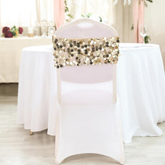 5 pack | Champagne | Big Payette Sequin Round Chair Sashes