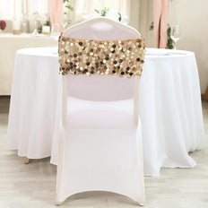 5 pack | Gold | Big Payette Sequin Round Chair Sashes