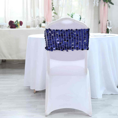 5 pack | Navy Blue | Big Payette Sequin Round Chair Sashes