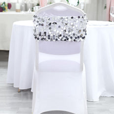 5 pack | Silver | Big Payette Sequin Round Chair Sashes