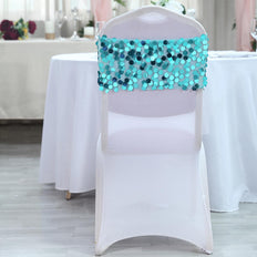5 Pack | Turquoise Big Payette Sequin Round Chair Sashes