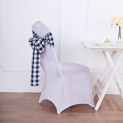 Gingham Chair Sashes | 5 PCS | Navy/White | Buffalo Plaid Checkered Polyester Chair Sashes