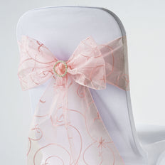 5 PCS | 7 Inch x 108 Inch | Dusty Rose Embroidered Organza Chair Sashes | TableclothsFactory
