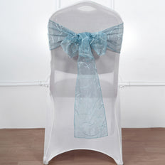 5 PCS | 7 inch x 108 inch Dusty Blue Embroidered Organza Chair Sashes